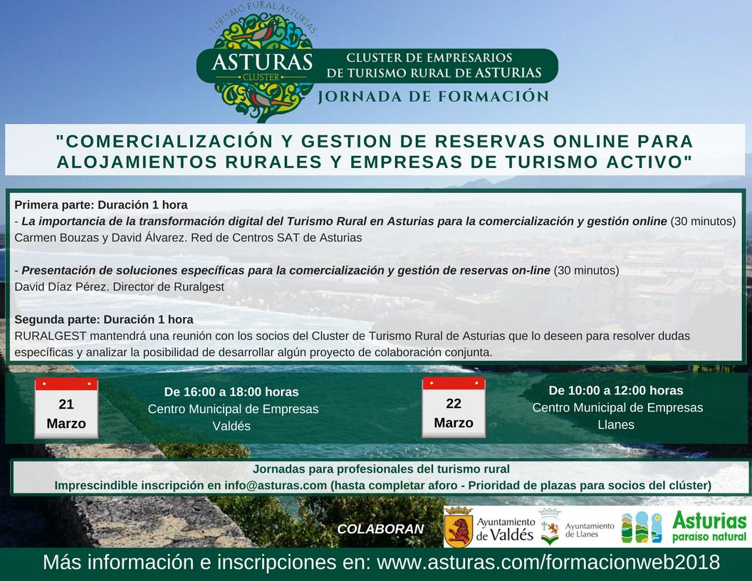 Jornada de formación 21 y 22 de marzo: Comercialización y gestión de reservas online para alojamientos rurales y empresas de turismo activo