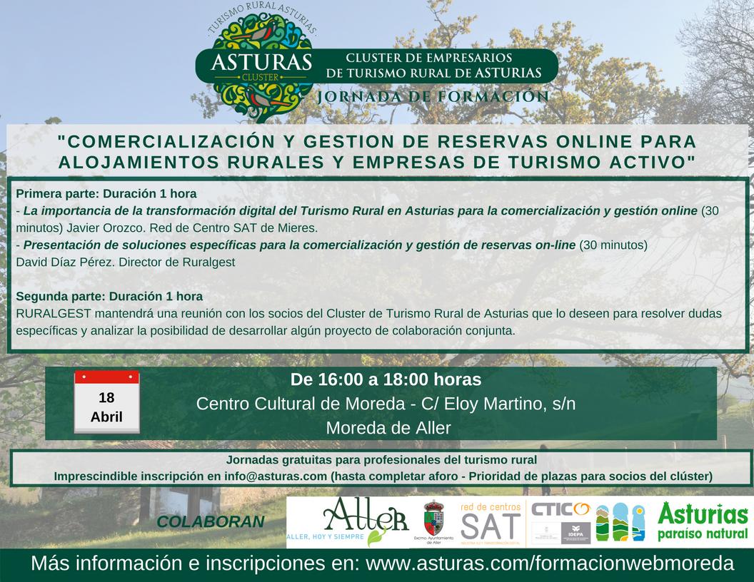 Jornada de formación - Moreda de Aller - 18 de abril : Comercialización y gestión de reservas online para alojamientos rurales y empresas de turismo activo