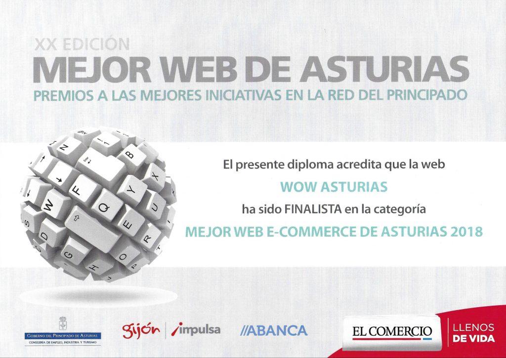 Diploma finalista mejor web Wow Asturias