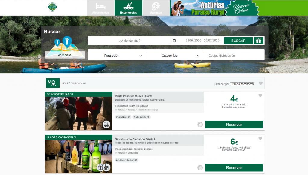 Plataforma de reservas de turismo rural en asturias