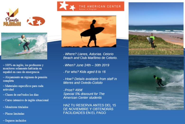 Folleto oferta campamento de surf en ingles en llanes (Asturias) - The american center