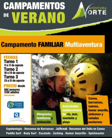 Folleto oferta campamentos de verano familiares - Asturias - Aventura Norte