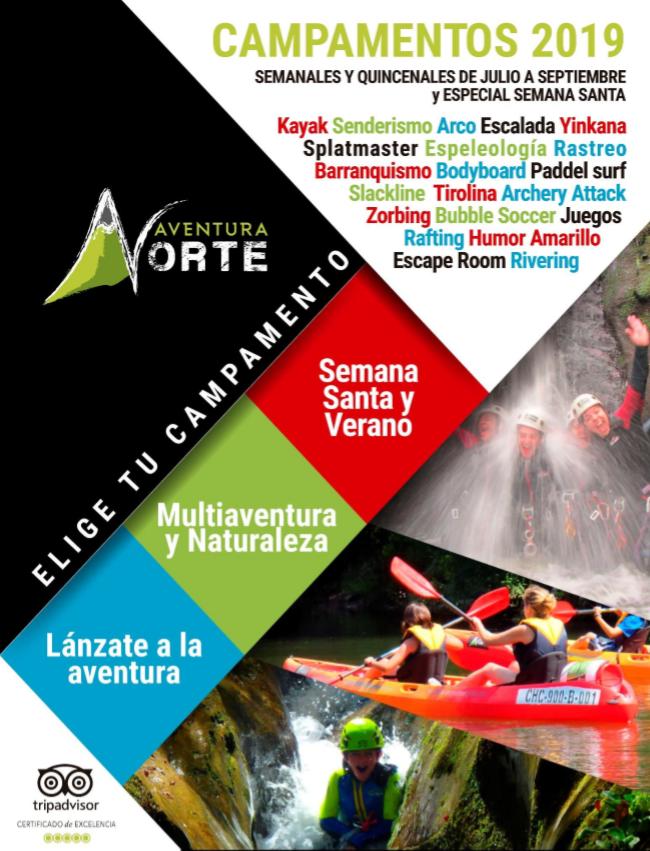 Portada folleto de ofertas campamentos de verano en Asturias 2019