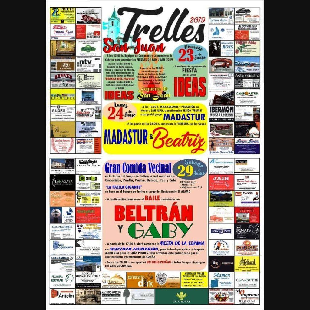 Cartel Fiestas de San Juan 2019 - Trelles - Coaña